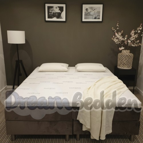 Hotel Boxspring Alicante ( Zonder Hoofdbord ) 2 pers. incl. Bamboo Exclusive Topper HR55 Koudschuim
